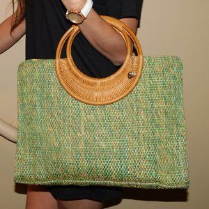 FOSSIL Forever Vintage  Woven Straw Tote Bag
